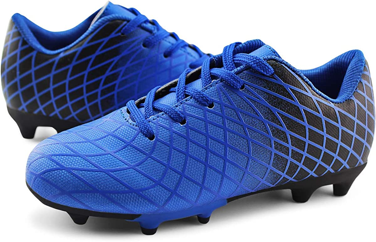 JABASIC Kids Outdoor Soccer Cleats Athletic Firm Ground Football Shoes