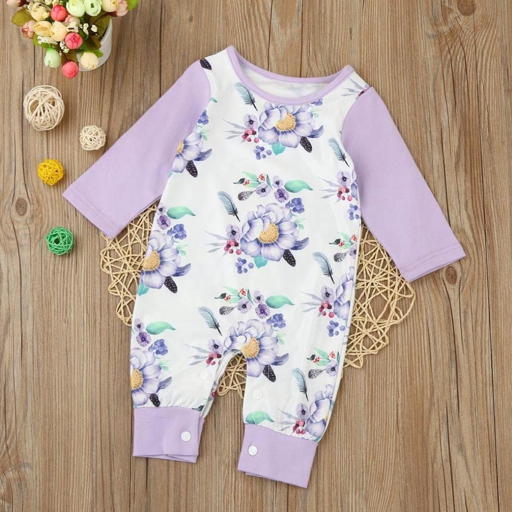 Mandystore Newborn Jumpsuit Infant Clothes Baby Kids Girls Floral Long Sleeve Romper Outfit