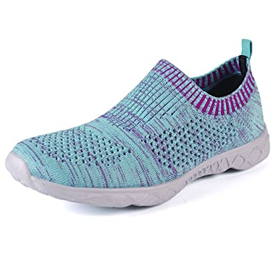 QANSI-Mujer Zapatos de Agua de Malla Transpirable Zapatillas de Secado Rápido de Varios Colores, Azul, EU40