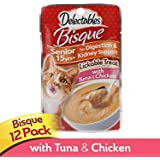 Delectables Bisque Senior 15 Years + Lickable Wet Cat Treats, Tuna & Chicken, 12 Pack