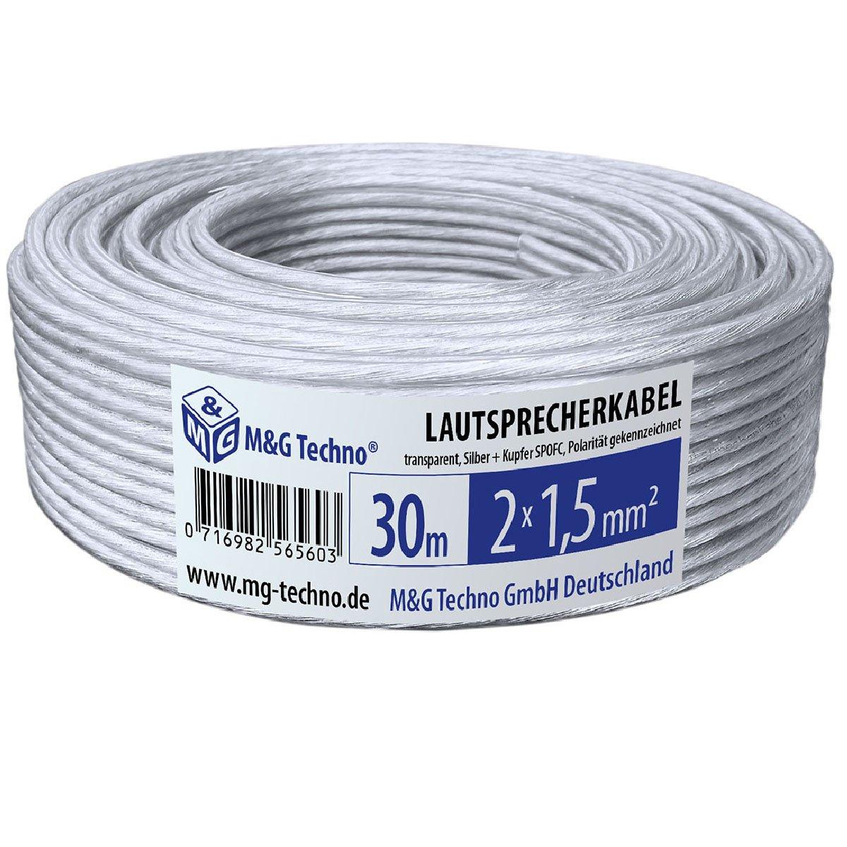 30m Lautsprecherkabel 2x1,5mm², rund, Transparent, SPOFC, Silber + ...