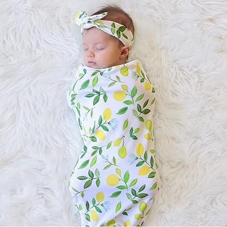 Bebé Swaddle Manta Saco de dormir, bebé recién nacido Muselina Wrap con diadema verde verde