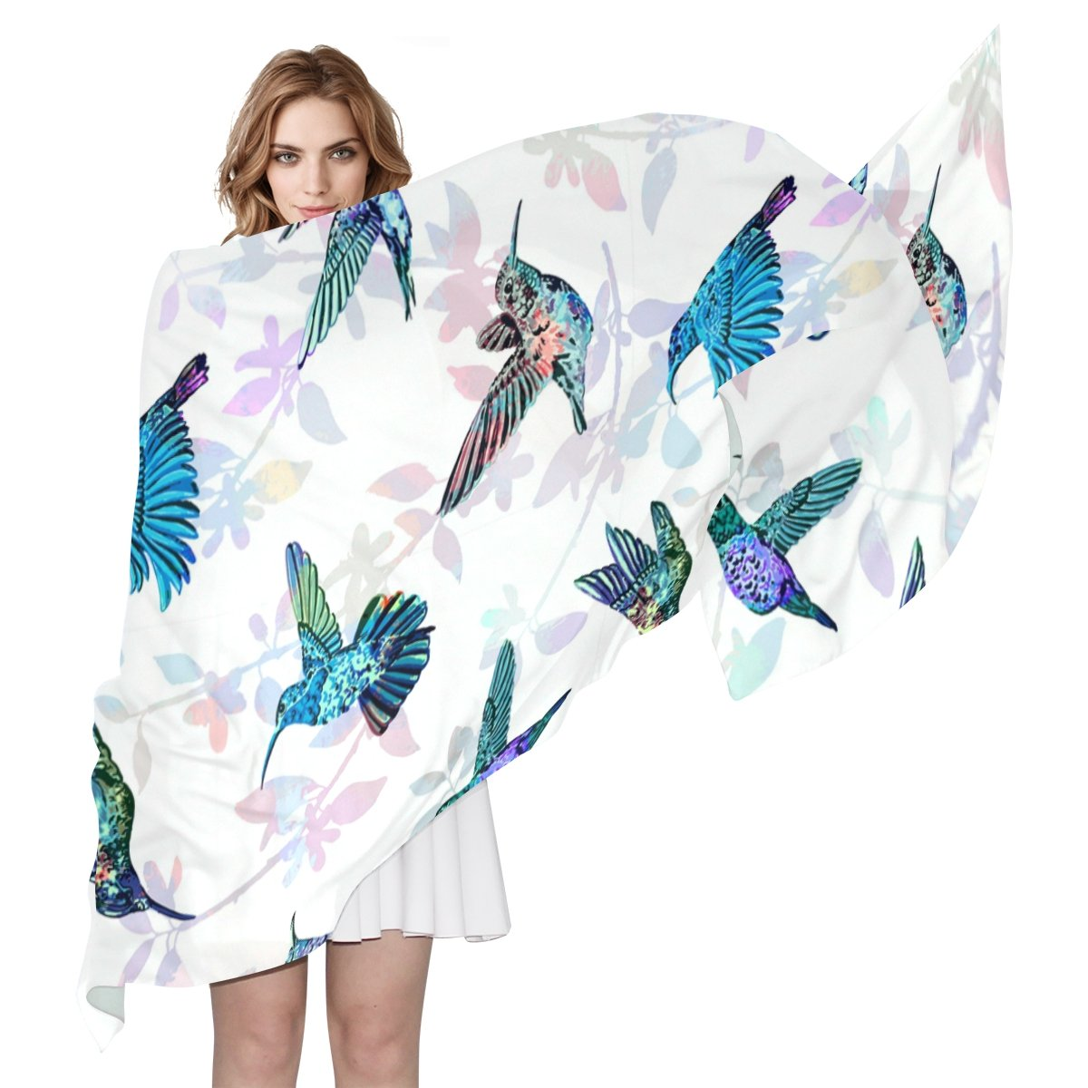 LORVIES Hummingbirds Pattern Silk Scarf Lightweight Long Scarf Shawl Wrap for Women