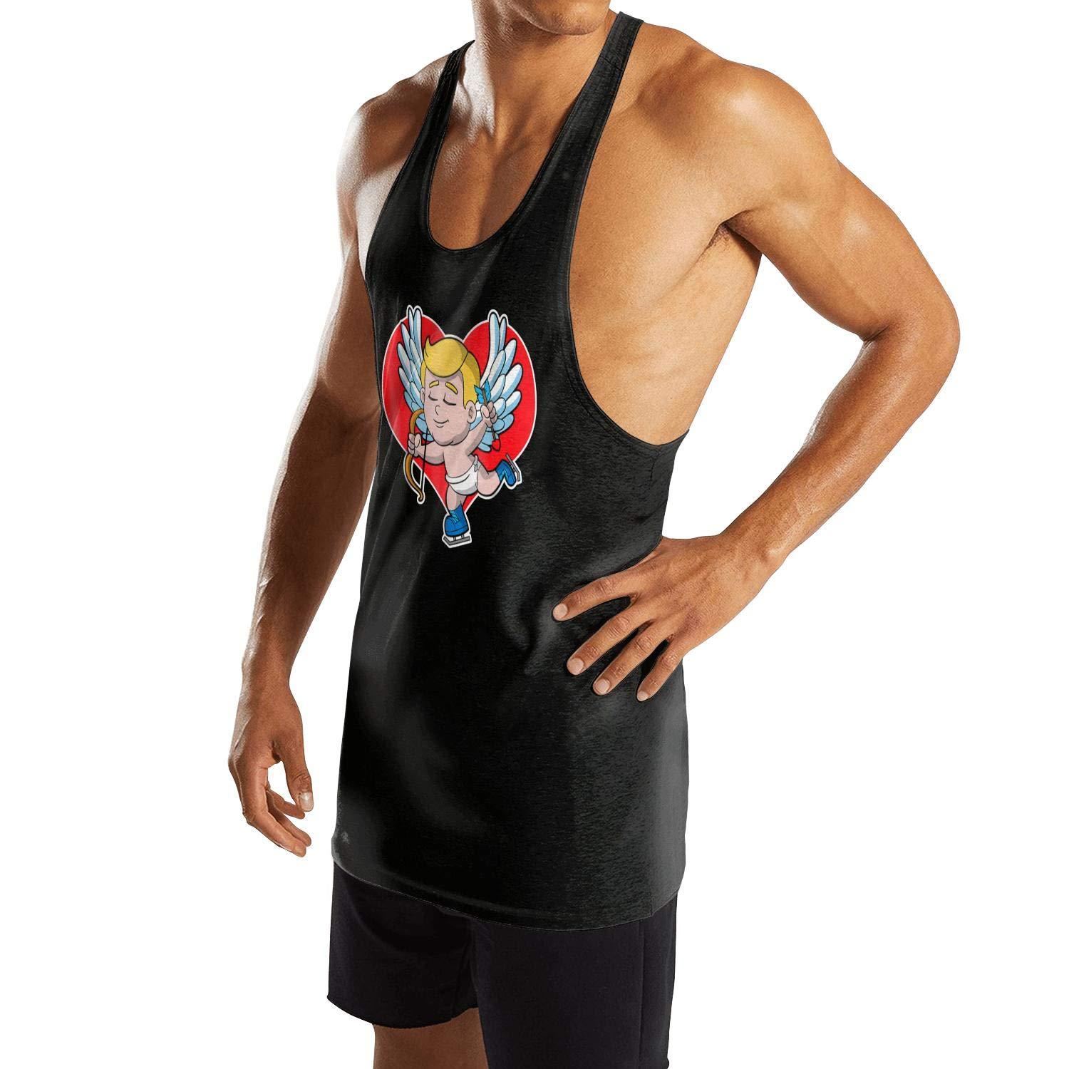 AIKYAN Mens Valentines Day for Cupid Ice Skate Gift Slim Fit Gym Vest Shirt