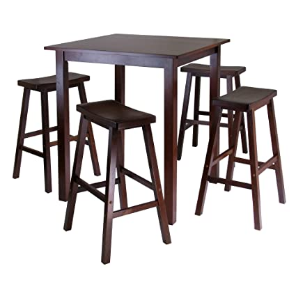 Amazon.com: Winsomeu0027s Parkland 5 Piece Square High/Pub Table Set In Antique  Walnut Finish: Kitchen U0026 Dining