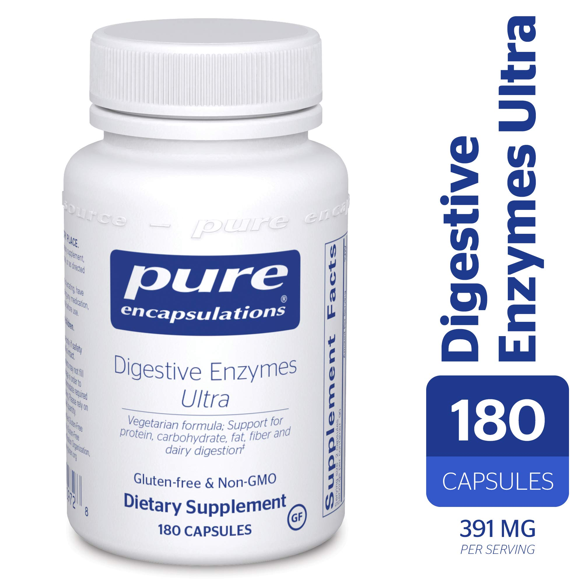 Pure Encapsulations - Digestive Enzymes Ultra - Comprehensive Blend of Vegetarian Digestive Enzymes - 180 Capsules by Pure Encapsulations