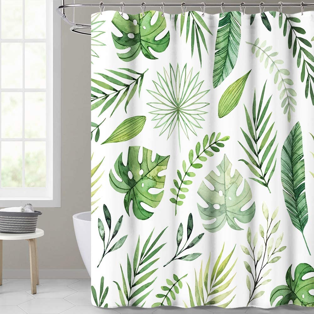KGORGE Waterproof Shower Curtain for Bathroom, Tropical Palm Leaf Pattern on White Background, Botanical Curtain Accessory Decor Set for Laundry Room Poolside, 72 x 72 inch with Hooks