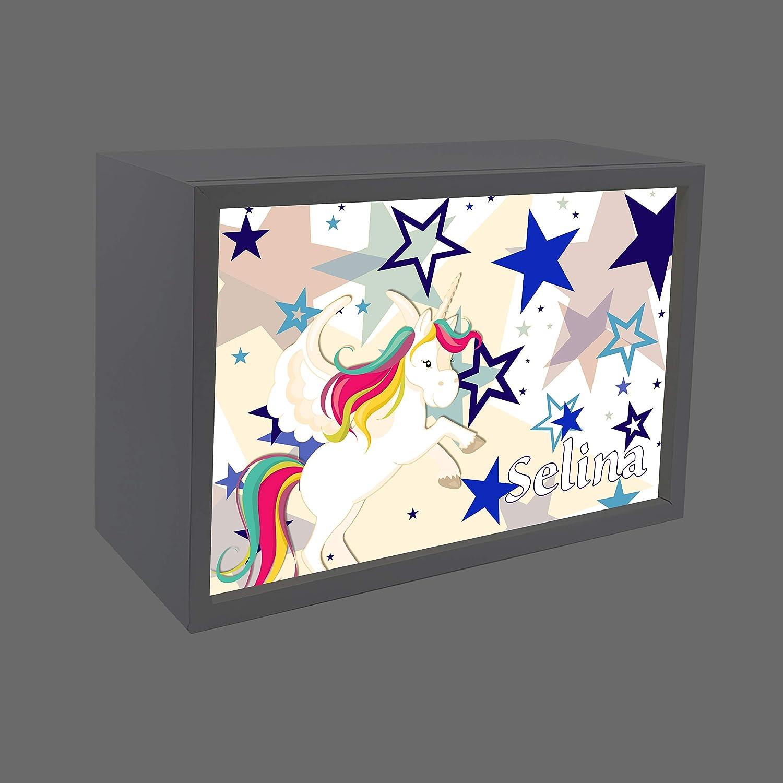 Holzfarbe Buche wei/ß ideale Dekoration als Lichtbox Tischlampe f/ürs Kinderzimmer LED Kinderlampe mit Schalter f/ür Steckdose Kinder Wandlampe aus Holz Buche mit Namen Lampen Motiv Auto-Cartoon