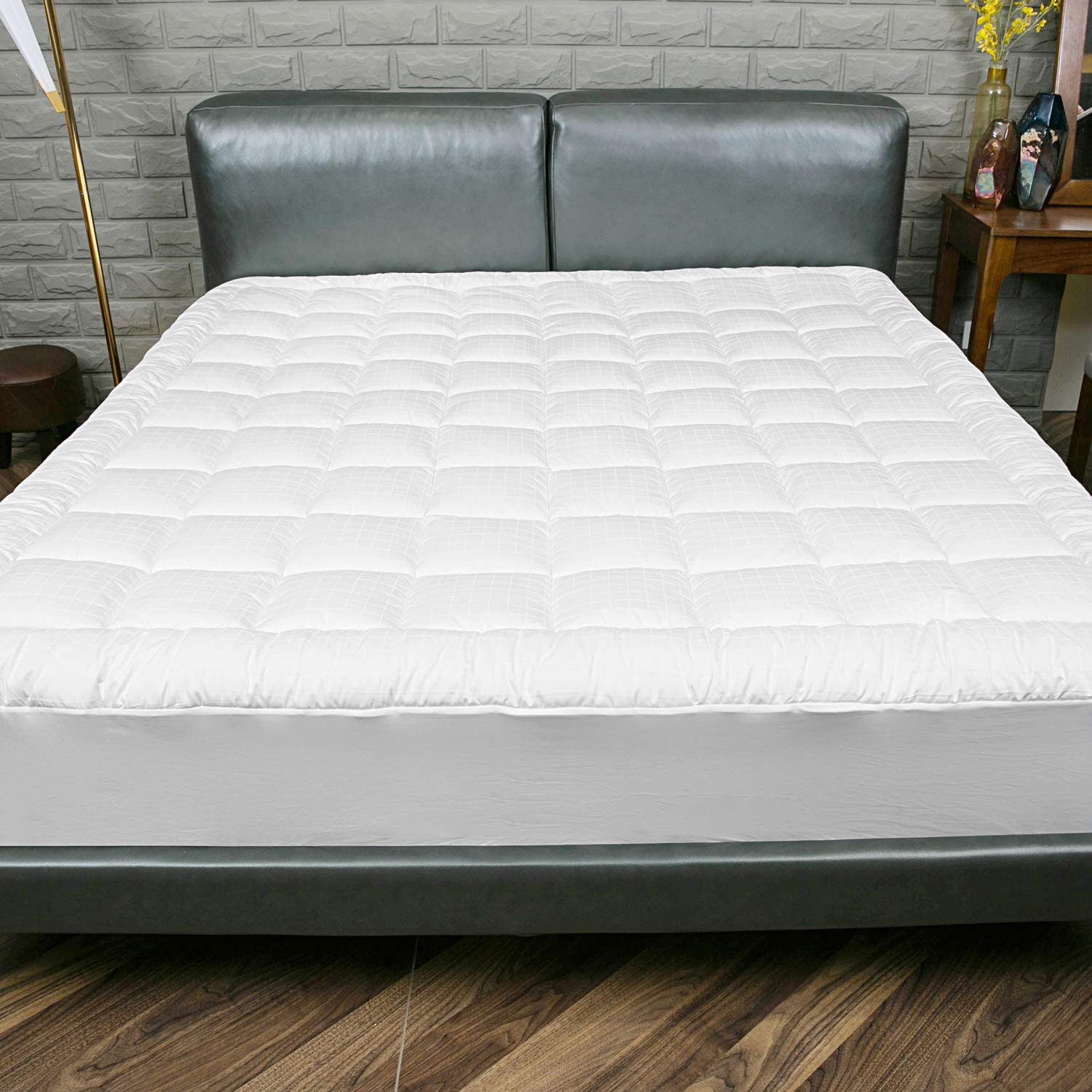 Di Hua Mattress Pad Cover Twin XL Size Soft Quilted Super Quality 800 GSM 100% Cotton 300TC Luxury Bed Topper Cooling Hypoallergenic Antibacterial Breathable Fitted Protector Deep 8''-23'' White