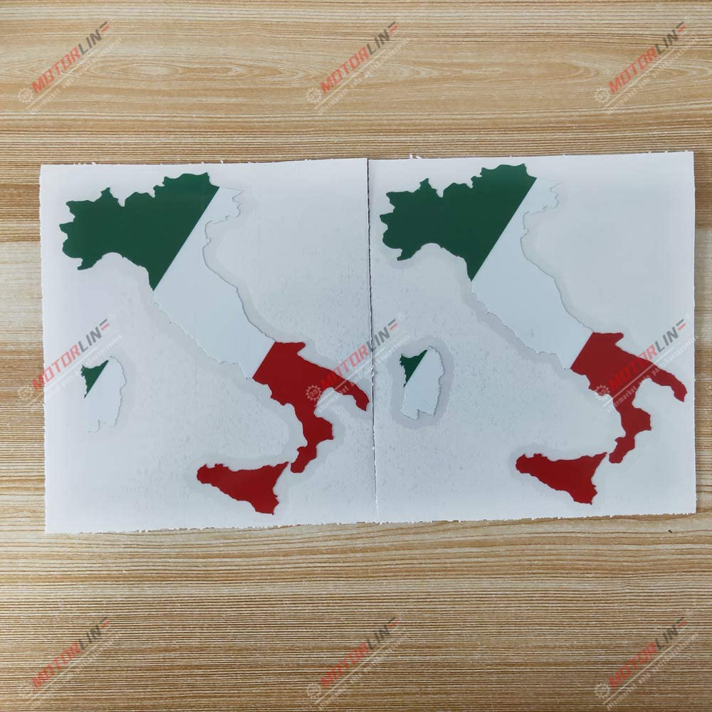 3S MOTORLINE 2X Glossy 4 Italian Flag Map Italy Decal Sticker Car Vinyl Italia Style a