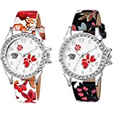 SWADESI STUFF Analogue Leather Strap Multicolor Dial Women's Watch - Combo of 2