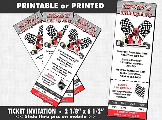 Go Kart Racer Birthday Party Ticket Invitation Printable Or Printed Option