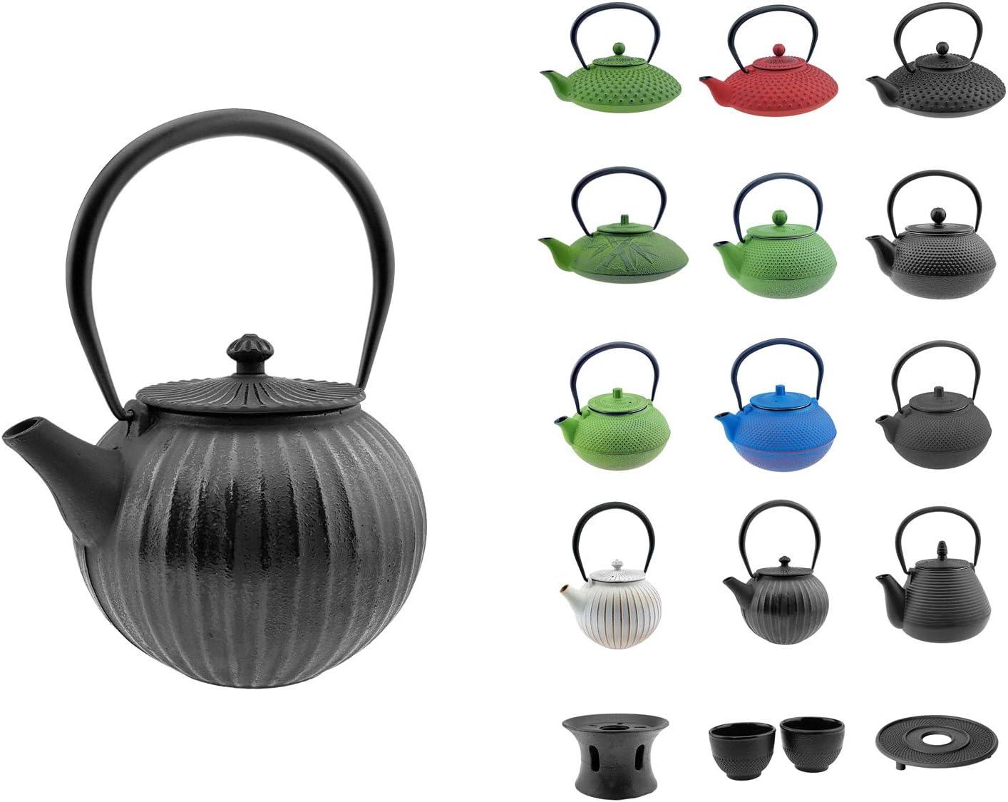 Tetera de hierro fundido–Varios Modelos y colores a elegir–Tetera con infusor–Tazas de té asiáticas–Té elaboración de accesorios Teekanne Gusseisen 1.1 L Strips Black