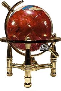 Unique Art 6-Inch Tall Pink Rubilite Pearl Swirl Ocean Mini Table Top Gemstone World Globe with Gold Tripod