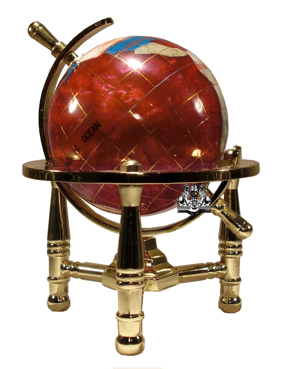 Unique Art 6-Inch Tall Pink Rubilite Pearl Swirl Ocean Mini Table Top Gemstone World Globe with Gold Tripod American Dwelling Group 80-GT-PINK-GOLD