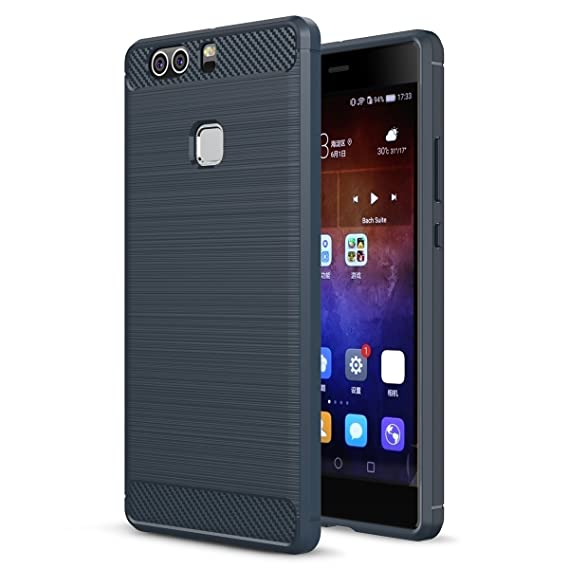 pretty nice 8200e 7ddea Huawei P9 Plus Case, Landee Soft TPU Shock Absorption and Carbon Fiber  Design Silicone Case for Huawei P9 Plus / P9+ (Navy Blue)
