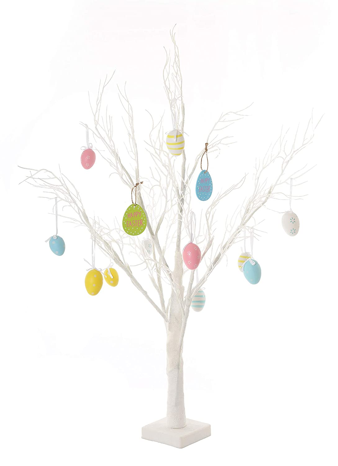 70cm White Deadwood Table Top Easter Twig Tree Pre-Lit with 24 LEDs With Complimentary Decorations Easter Tree With Lights