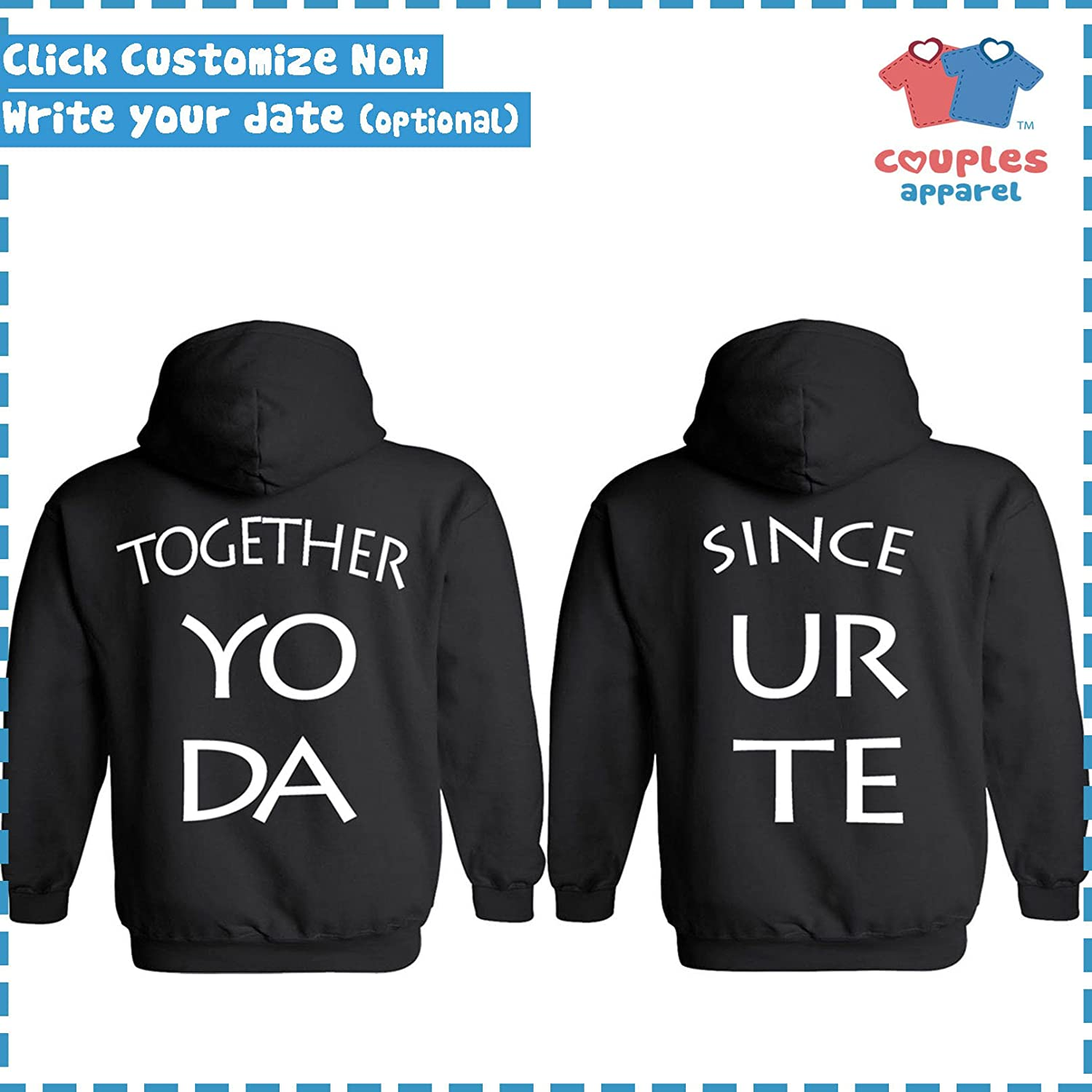 dfb3df1972 Amazon.com: King & Queen [Personalized] Together Since [Your Date] -  Matching Couple Hoodies - His and Her Sweaters: Clothing