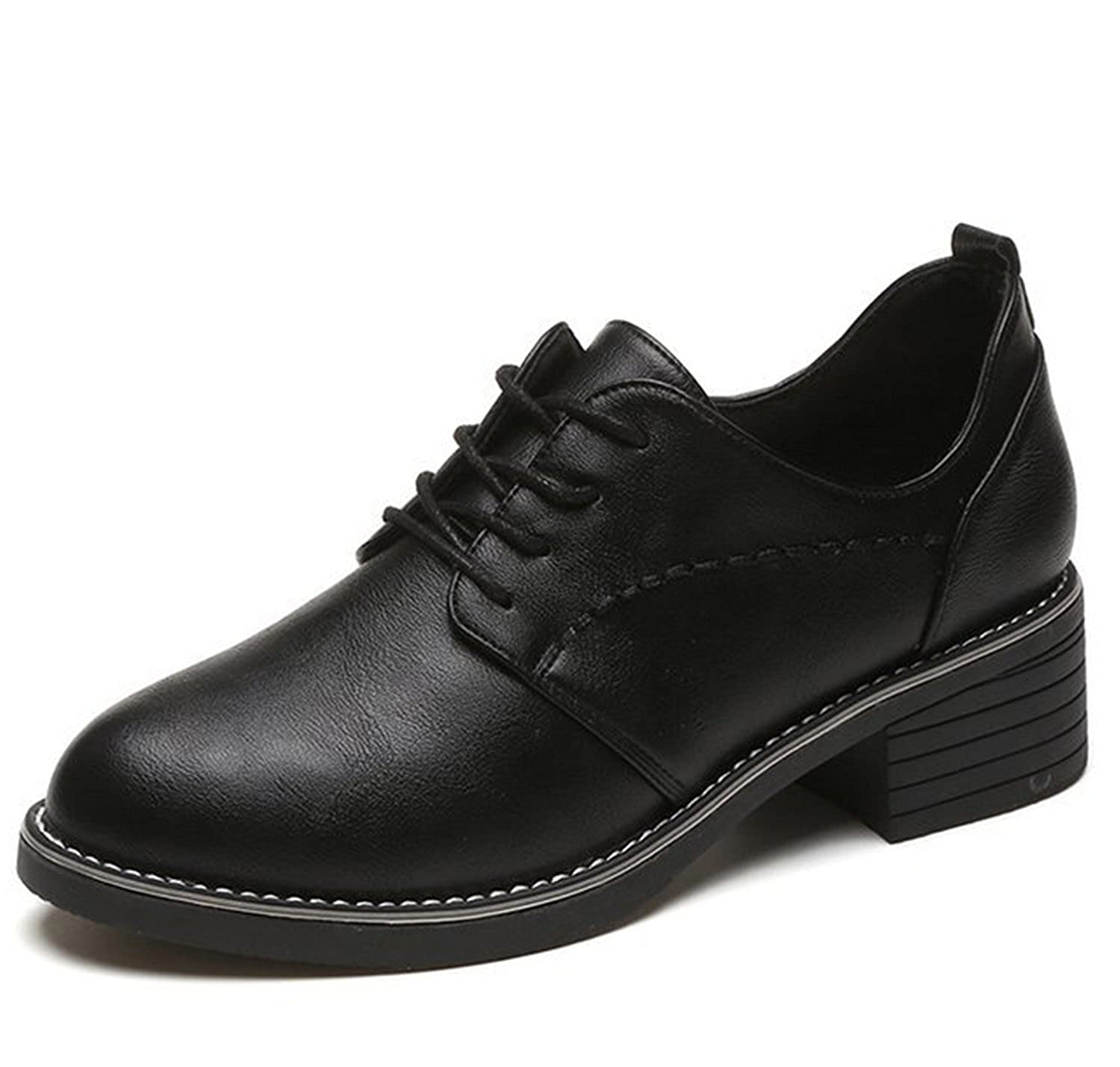 Women's Casual Lace Up Pu Leather Low Heels Oxford Round Toe Shoes B077TWG2Y5