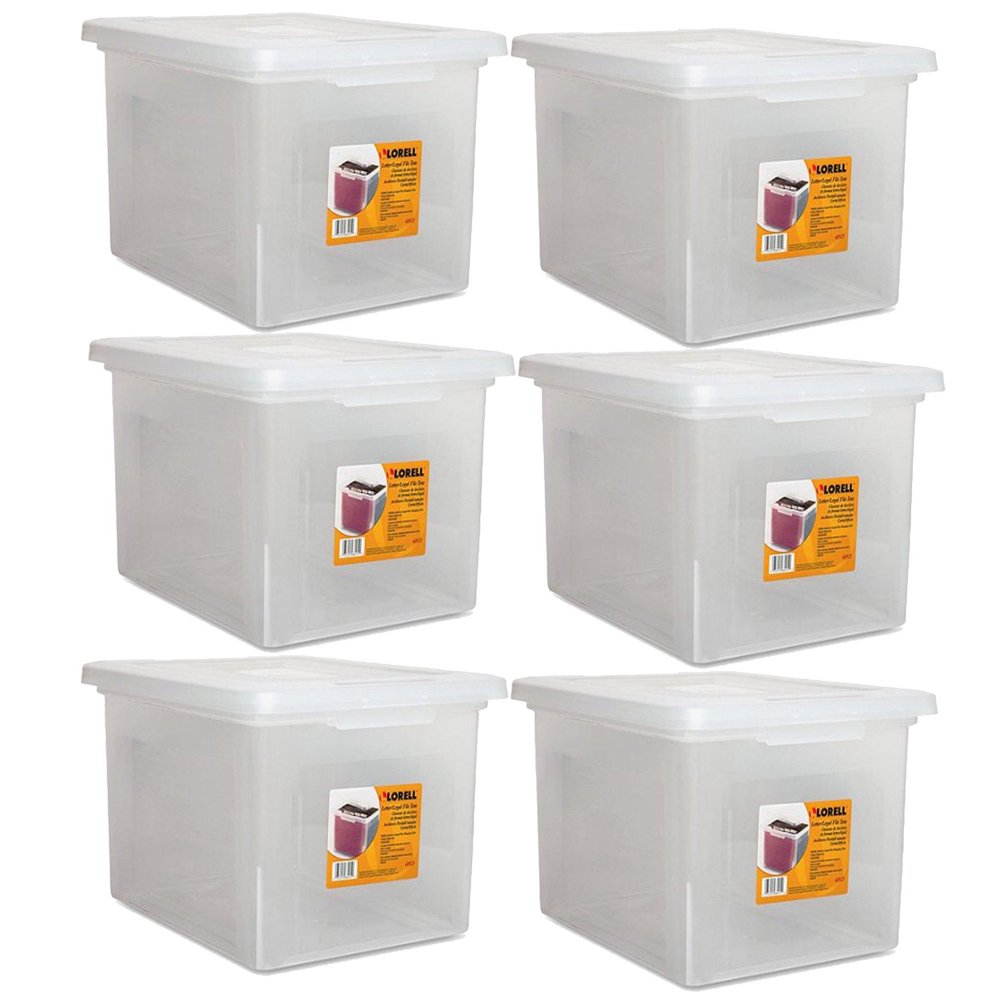 Lorell LLR68925 Letter/Legal Plastic File Box, 6-Pack