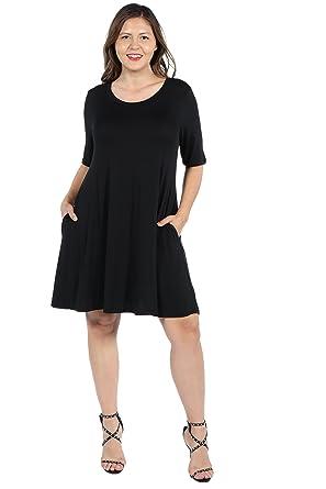 dd022b45bb 24/7 Comfort Apparel Plus Size Dresses 3/4 Sleeve Short Pocket Mini Dress