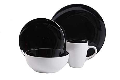 Gibson Home Chicstone 16 Piece Dinnerware Set Black/White  sc 1 st  Amazon.com : gibson red and black dinnerware - pezcame.com
