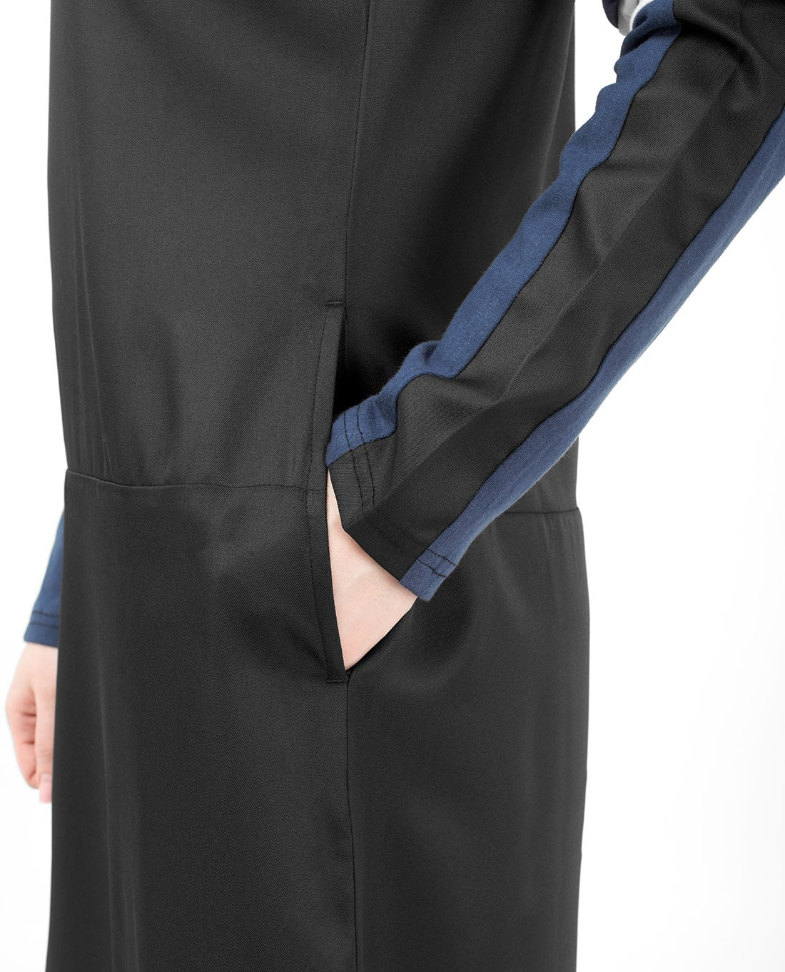 Silk Route Black Navy And White Subtle Curve Polyester Sporty Maxi Dress Jilbab Large 54 by Silk Route (Image #4)