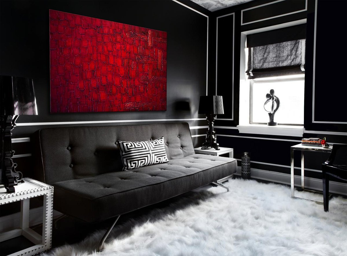 Oil Painting Abstract Modern Art on Canvas Handmade Red Squares (36x48 inches)