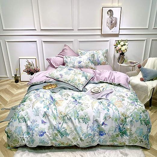 yaonuli Funda de edredón de sábanas de algodón de Cuatro Piezas de ...