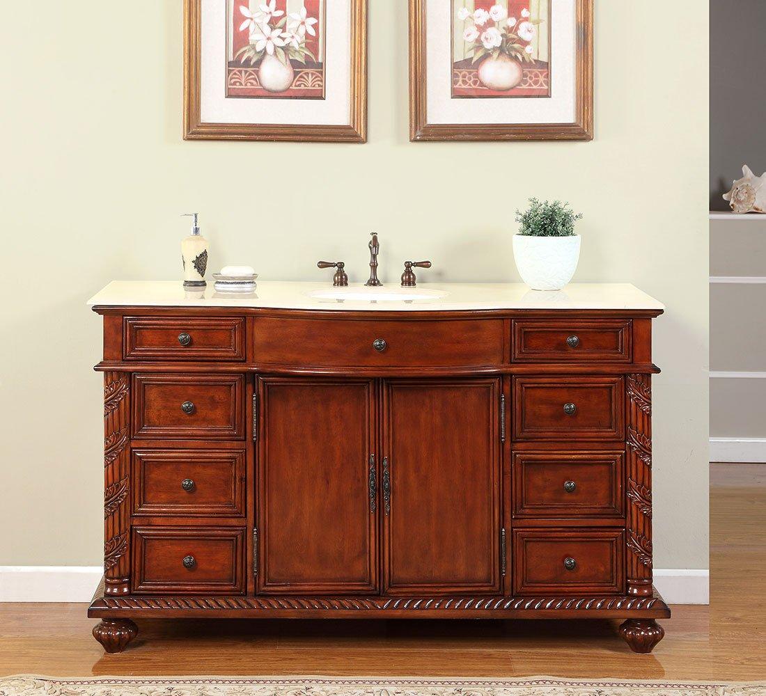 Silkroad Exclusive FS-0268-CM-UWC-60 Creamy Marble Stone Single Sink Bathroom Vanity with Furniture Cabinet, 60 , Medium Wood