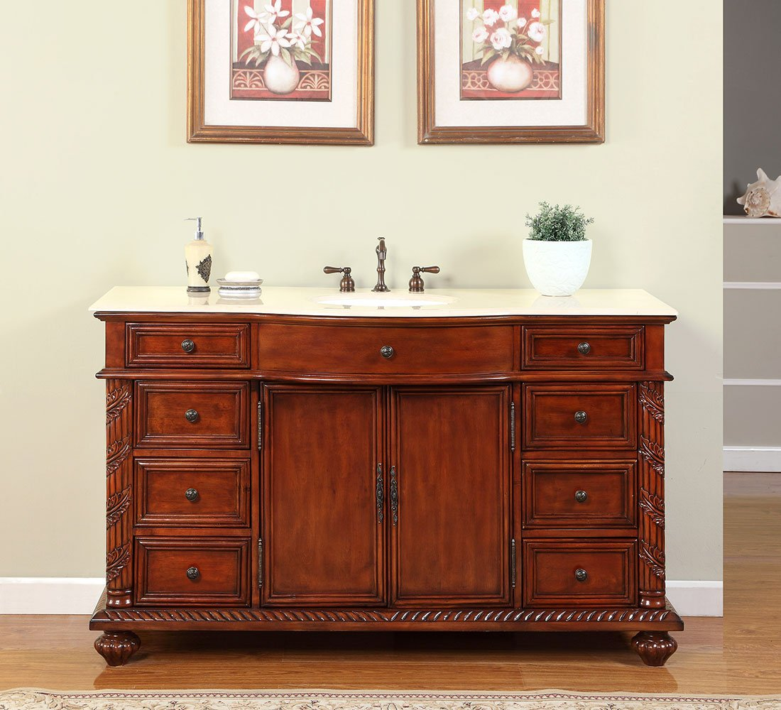 Silkroad Exclusive Creamy Marble Stone Single Sink Bathroom Vanity with Furniture Cabinet, 60-Inch