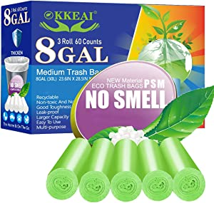 OKKEAI Recycling Trash Bags 8 Gallon Medium Garbage Bags Thicker 0.98 MIL Trash Can Liners Bags Wastebasket Liners for Kitchen, Office Business , Lawn,Garden, Patio,60 Count (Fits 7-10 Gallon Bins)