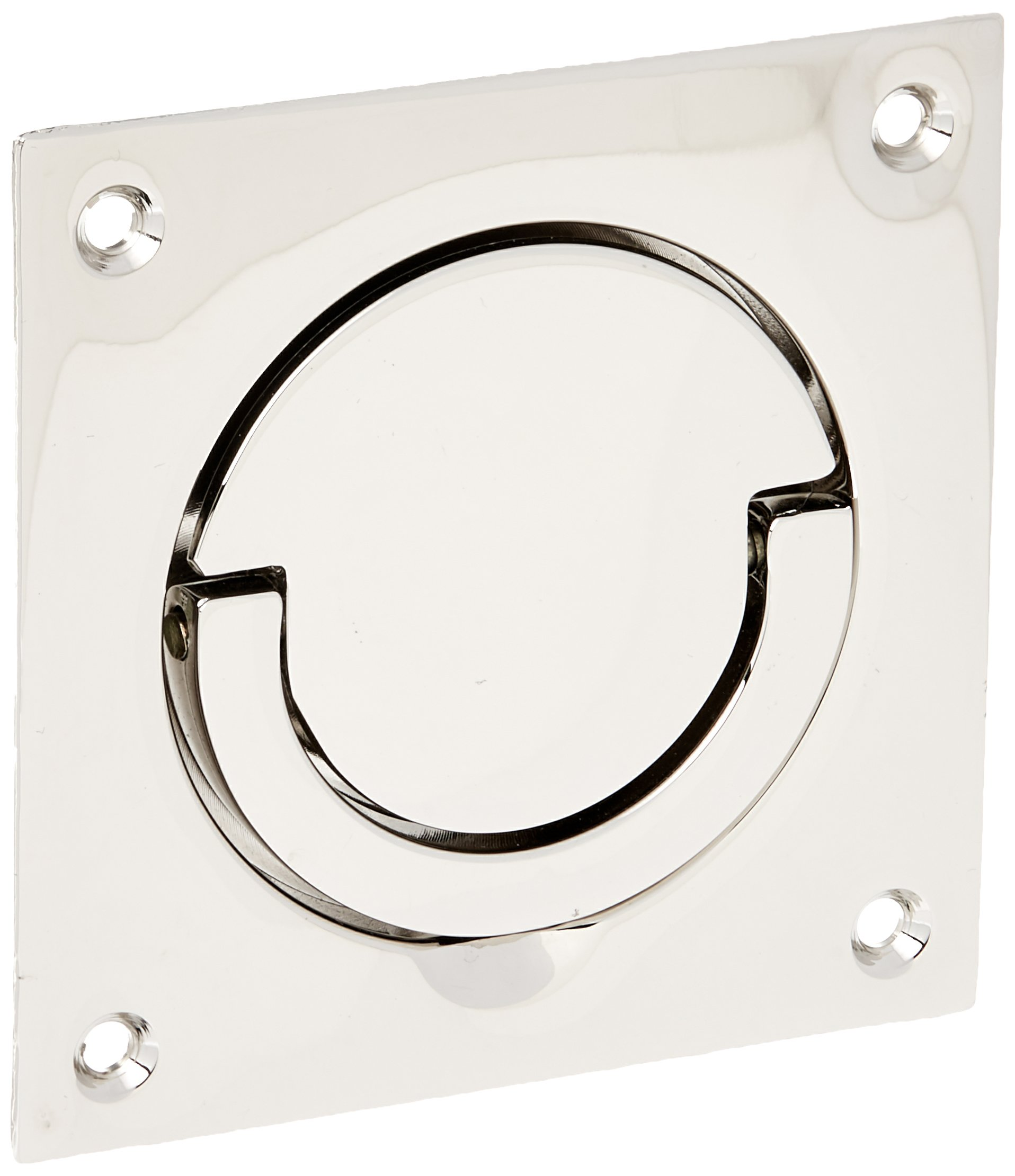 Baldwin 0397140SOL Flush Ring Pull with Solid Spindle, Bright Nickel