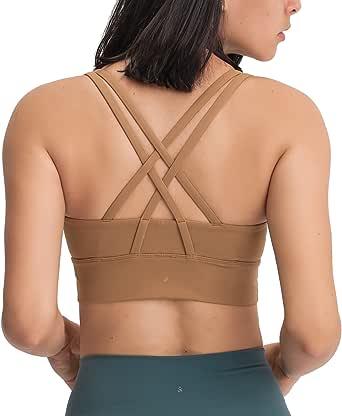 VIVANA SPORTS Women's Medium Support Flexible Seamless Sport Training Padded Bra Yoga Tops