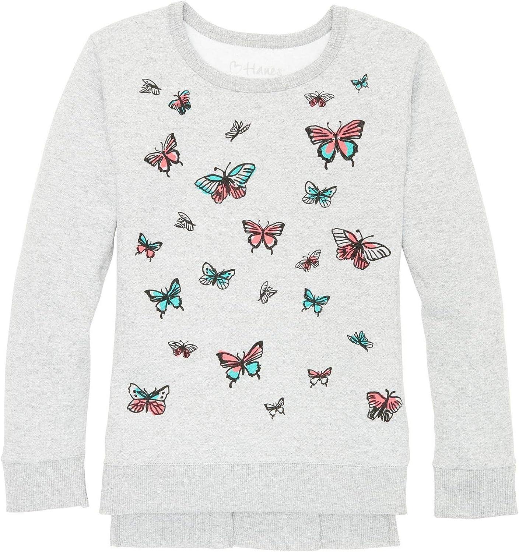 Hanes Girls High-Low Graphic Sweatshirt K376
