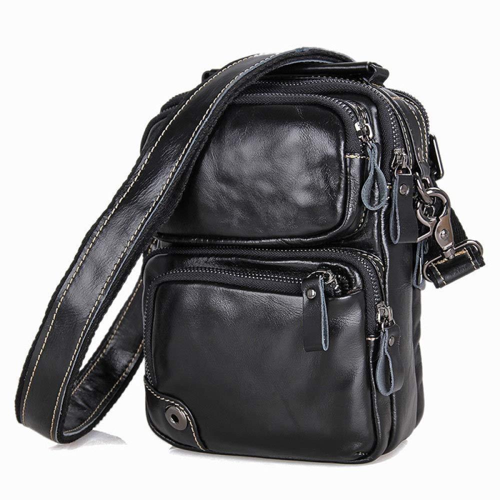 Color : Black, Size : 167.521.5 KVKY Mens Causal Leather Shoulder Bag Vintage Top Layer Oil Wax Cowhide Leather Bag Commuter Bag