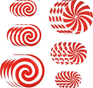 Alpurple 24 Pieces Peppermint Floor Decals Stickers-3 Sizes Self-Adhesive Design Christmas Candy Stickers,Floor Window Clings for Christmas Valentine's Day Candy Party Decorations