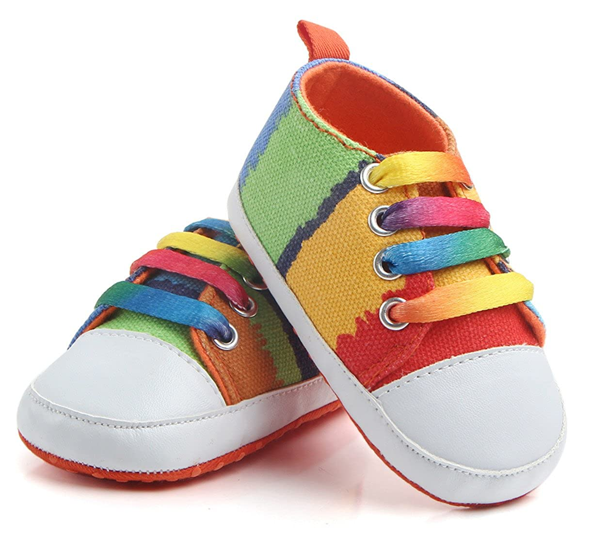 Upper Rubber Dots Sole Toddler Sneaker Skidproof First Walkers 0-18 Months 3 Color VTuoP Rainbow Baby Shoes Canvas Sneaker