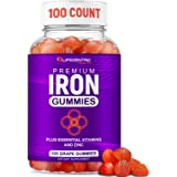 Iron Gummies for Adults and Kids | Biotin Zinc Vitamin B Folic Acid Vitamin Gummies | Vegan Gluten Free Blood Builder Anemia