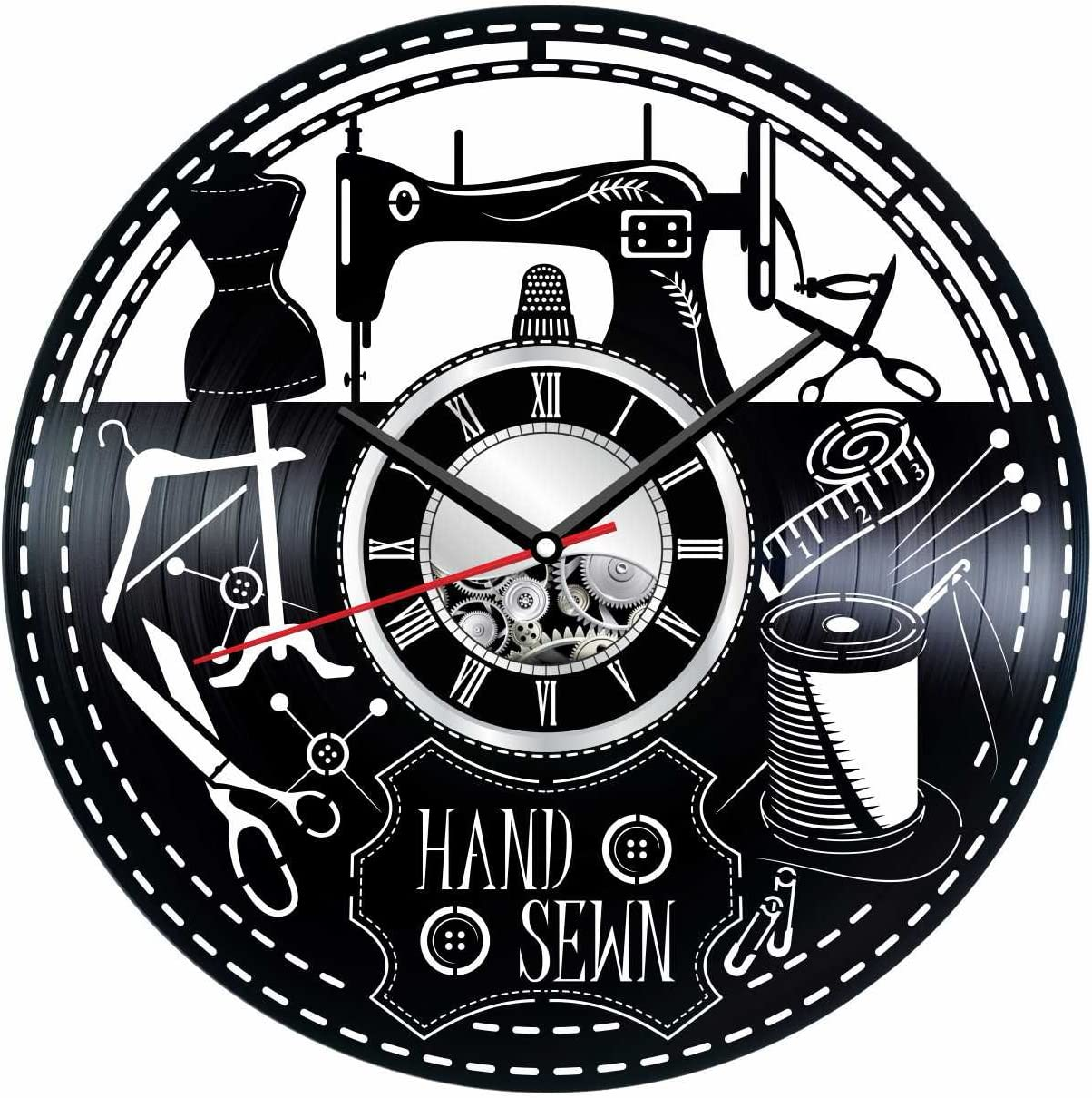Sewing Wall Clock Made of Vintage Vinyl Records - Stylish Clock and Amazing Gifts Ideas – Unique Home Decor – Personalized Presents for Men Women Kids – Great for Living Room Bedroom Kitchen