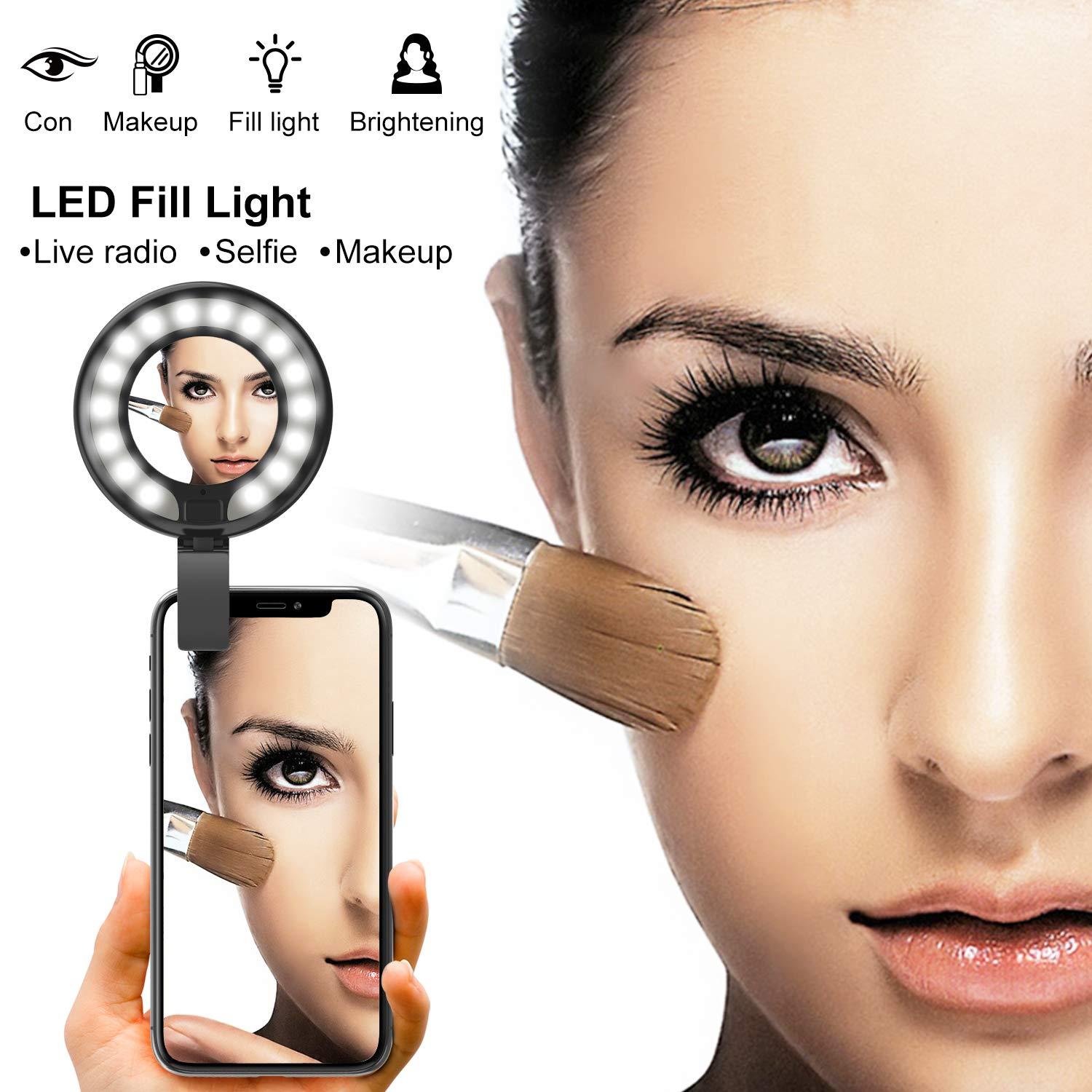 Girl Makes up FEGEGO Selfie Ring Light with Rechargable LED for iPhone//Tablet//iPad Camera Black