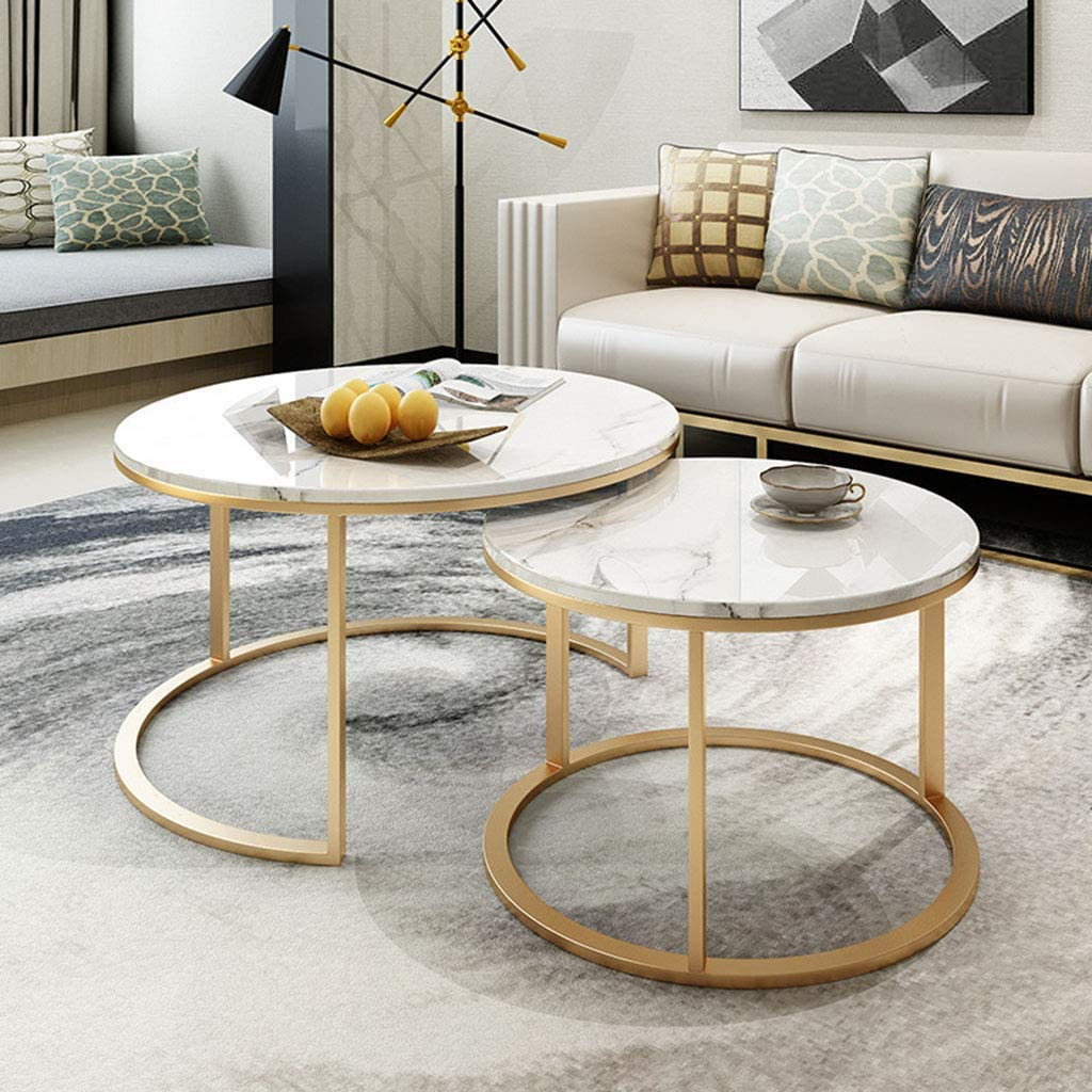 NMDCDH Home Décor Furniture Home Tea Table, Modern Coffee Table with Faux Marble Top for Living Room, Accent Furniture with Gold Metal Frame, Easy Assembly - Set of 2 Living Room or Loung
