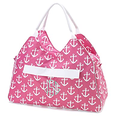 Amazon.com | Large 22 Inch Beach Bag, Anchor Print, Pink | Travel ...