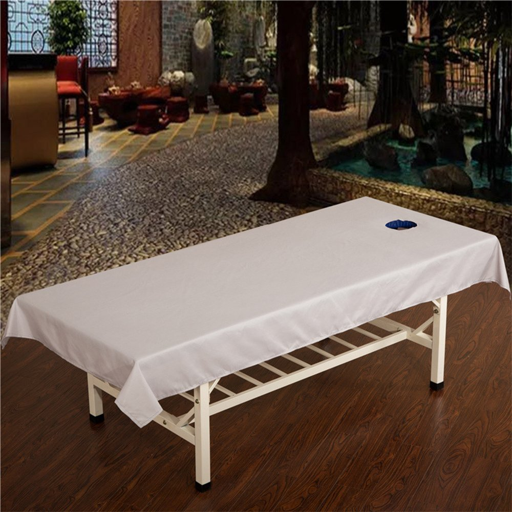 GZQ Massage Table Sheet Portable Massage Bed Spa Cushion Cover with Face Breath Hole (White)