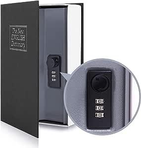 Ohuhu Caja de seguridad en forma de libro - Cerradura con Combinación, Caja Fuerte Portátil, Ideal para Guardar Dinero, Acero (Medio, Negro): Amazon.es: Bricolaje y herramientas