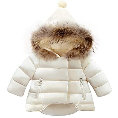89aadc9b8efc Amazon.com  Girls Parka Winter Coat Fur Christmas Down Jacket Parka ...