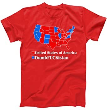 Amazoncom Republican Version United States Of America Vs - Tee shirt us map dumbfuckistan