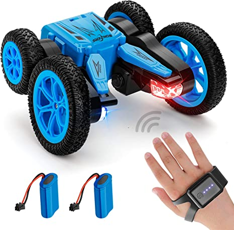 NONZERS RC Stunt Car, 2.4GHZ Remote Control Car with Gesture Sensor Watch and 2 Rechargeable Batteries, 4WD Deformable 360° Rotation Racing Car Toy Gift for Kids Teens