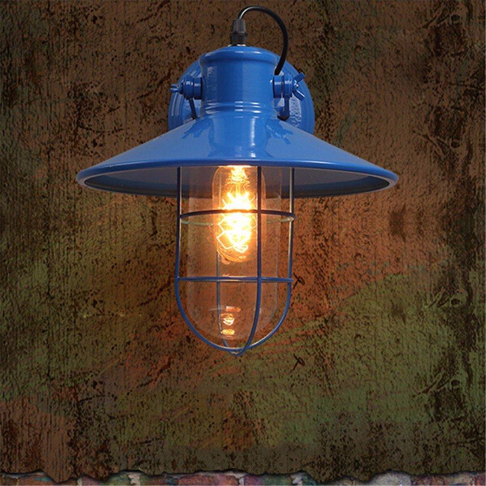 JJZHG Wandleuchte Wandlampe Wasserdicht Wandbeleuchtung Schlafzimmer-Nachttischlampengangstange des Retro- Balkon der Wandlampe im Freien kreative,blau beinhaltet  Wandlampe,stoere wandlampen