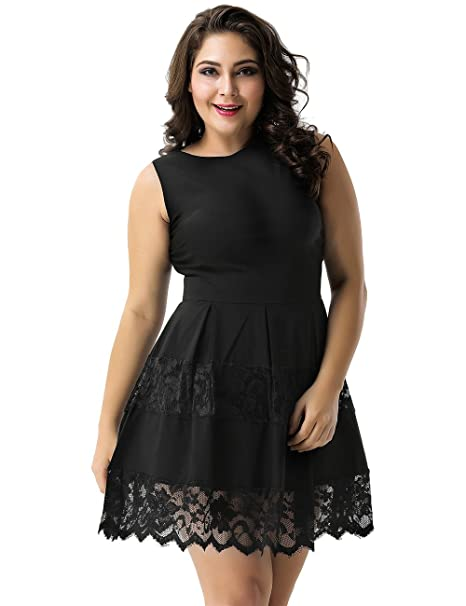 Ohyeahlady Women Lace Skater Dress Plus Size Sleeveless Fit And